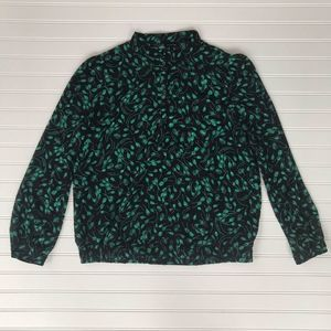 Who What Wear Black and Green Floral Top